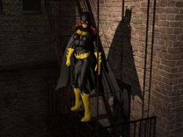 Batgirl observes the action below by DahriAlGhul