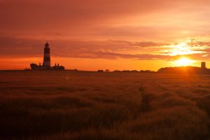 Happisburgh Lighthouse at Sunset by andyf451