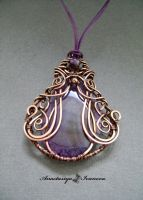 pendant with agate and amethyst by nastya-iv83