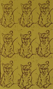 Brown on Yellow Snow Leopard Repeat Lino Print by Erinwolf1997