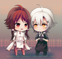 Chibi Amelie and Emil by MoonlightTheWolf