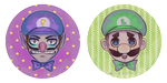 Waluigi and Luigi Buttons by DrawKill