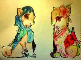 Fursona and Mascot: Misty and Hanami by misty-paws