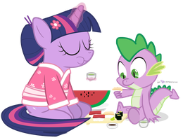 Twilight and Spike in 'Sushi Appreciation' by dm29