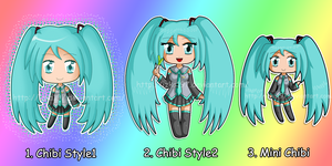 Miku in different chibi styles by izka197