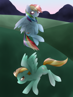 Rainbow Dash and Lightning Dust by Kitsunewolf95