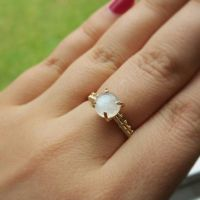 Gold Prong Set Moonstone Ring Wire Wrapped by WrappedbyDesign