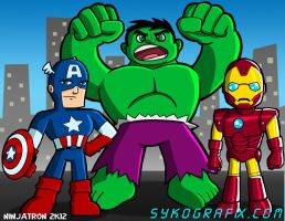 Steve, Bruce, and Tony by ninjatron