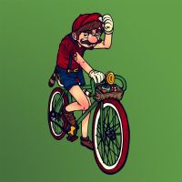 Fixie Hipster Mario by paperbeatsscissors