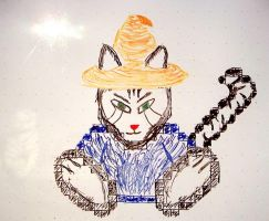 Wizzrobe Kitteh on whiteboard by xuncu