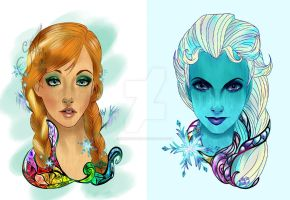 Princess and Sisters of Arendelle by AirinStudio