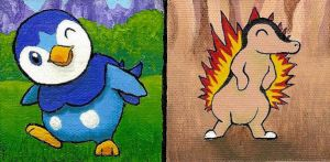 Pokemon Piplup and Cyndaquil Quick Paints by Anima-Lux-Artifex
