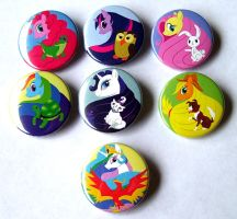 Pony and Pets Buttons by MischievousPooka