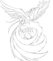 The Phoenix - Lineart - How can I color it? by TwickyGirl