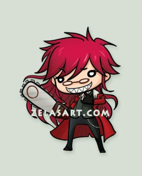 Chibi Grell Button by zelas
