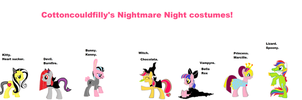 Nightmare night costumes for cottoncloudfilly. by bloostormbrony