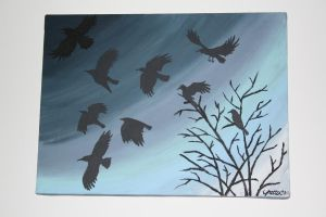 Crows in Flight by everythingerika