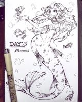 Inktober Day: 4 - Mermaid by rap1993