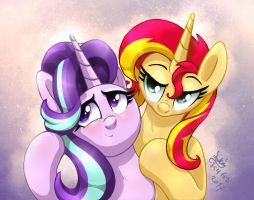 MLP FIM - Sunset Shimmer And Starlight Glimmer Liv by Joakaha