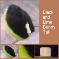 Black and Lime Bunny Tail by Lascivus-Lutra