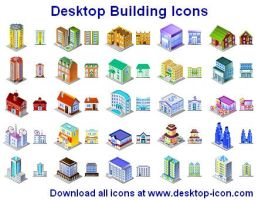 Desktop Building Icons by Ikonod