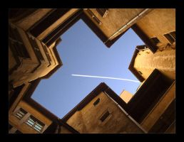 Airplane in a sky corner by cg2i