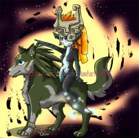 Midna and Link colored by MrsEmmyJ