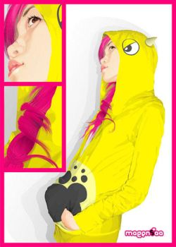 A Girl with Yellow Dino Hoodie by theyellowdino