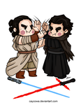 Star Wars - Rey and Kylo Ren by caycowa