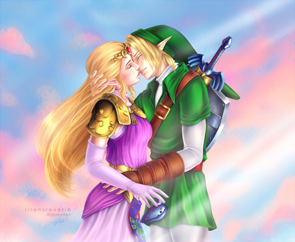 Link and Princess Zelda by SirensReverie
