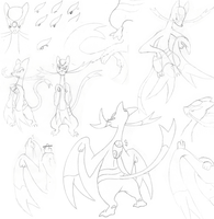 A bunch of Mienshao sketches by DarkGred