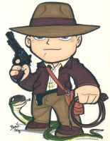 Chibi-Indiana Jones. by hedbonstudios