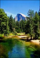 Half Dome From The Merced by rivaraftin1977