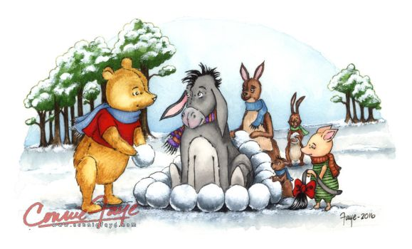 A Winter's Day Winnie the Pooh Illustration by ConnieFaye