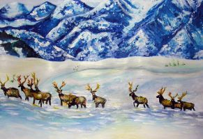 Wapiti in the Arctic by PrehistoricGiraffe