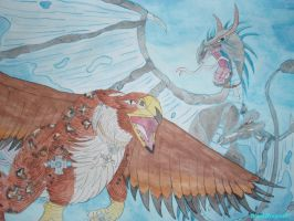 Topaz Dragon and Griffin by BlackDragon07