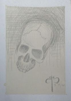 Silverpoint skull - ACEO by s-pwyll