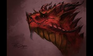 head of an adolescent red dragon by stormserpent