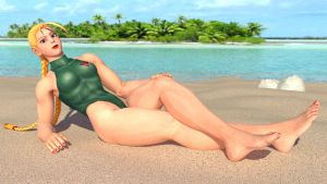 Cammy relaxing at the beach by Vadda-Orca