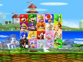 Mario and Sonic Mini-game Mode Character Select by Flipsideart3111