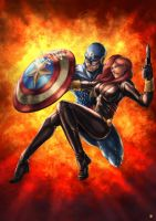 Captain America and BlackWidow by cric