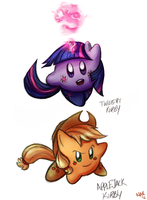 Twilight and Applejack Kirbies by Marraphy