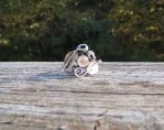 Rainbow Moonstone Silver Leaf and Vine Ring by whippetgirl