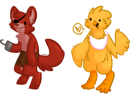 Fnaf Chica And Foxy derp yea so crappy wow by Deer-dog