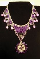 Purple Bells Necklace by chainmaille