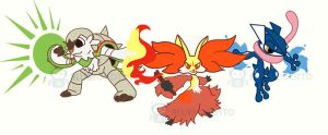 Kalos starter trio by BlueRobotto