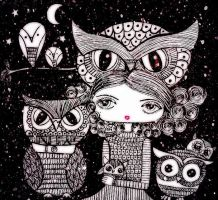 Lady owl and the owls by dragonfly2736