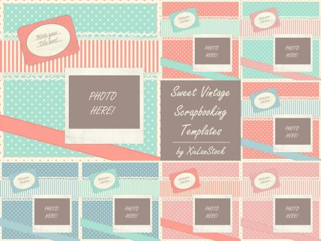 Sweet Vintage Scrapbooking Templates by XiuLanStock