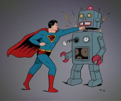 Superman Vs. Mechanical Menace by rocketdave