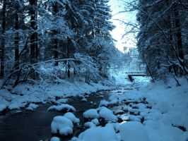 Winter Stock: river and bridge by Burtn